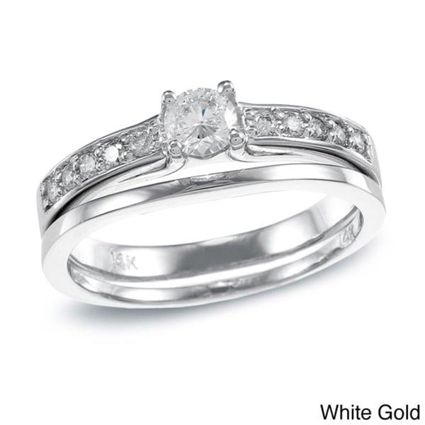 Auriya  14k Gold 1/2ct TDW Round Diamond Bridal Ring Set (H-I, I1-I2)