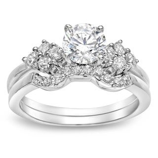 Auriya 14k Gold 1ct TDW Certified Round Diamond Bridal Ring Set (J-K, I1-I2)