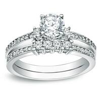 Auriya 14k Gold 1ct TDW Round Diamond Engagement Ring Set