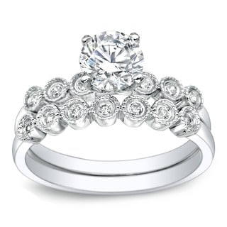 Auriya Vintage Inspired 1ct TDW Round Diamond Engagement Ring Set 14k Gold
