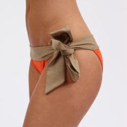 Amorroma Women's Tangerine/ Nude Side Tie Bikini Bottom - Thumbnail 1
