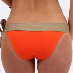 Amorroma Women's Tangerine/ Nude Side Tie Bikini Bottom - Thumbnail 2