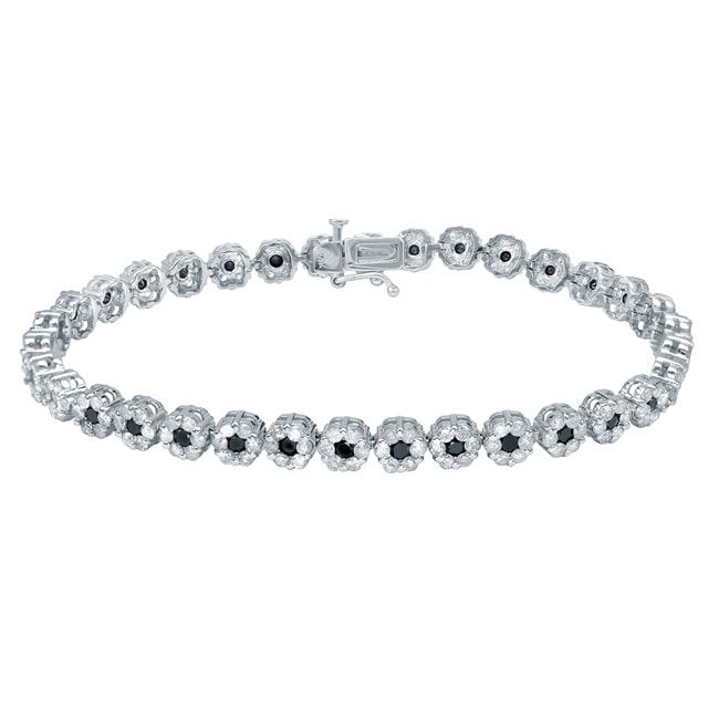 Auriya 14k White Gold 4 1/2ct TDW Black and White Diamond Bracelet