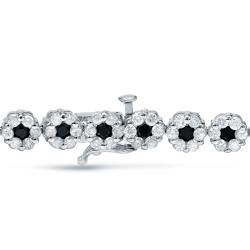 Auriya 14k White Gold 4 1/2ct TDW Black and White Diamond Bracelet - Thumbnail 1