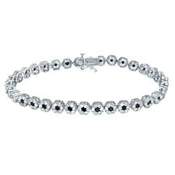 Auriya 14k White Gold 4 1/2ct TDW Black and White Diamond Bracelet