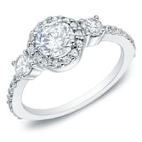 Auriya 14k Gold 1 1/4ct TDW 3-Stone Diamond Halo Engagement Ring