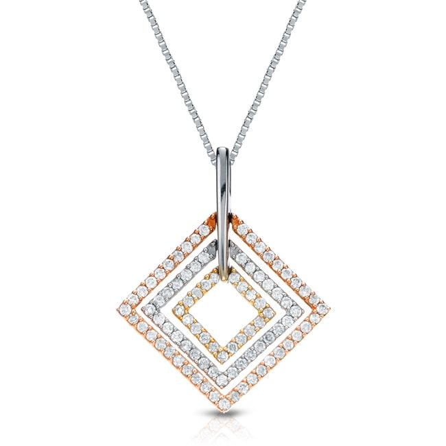 Auriya 14k Tri-color Gold 1/2ct TDW Round Diamond Square Necklace