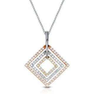 Auriya 14k Tri-color Gold 1/2ct TDW Round Diamond Square Necklace