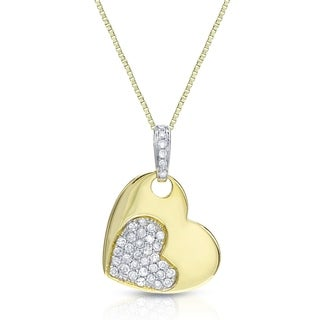 Auriya Heart Shaped 1/8ct TDW Pave Diamond Necklace 14k Two-tone Gold
