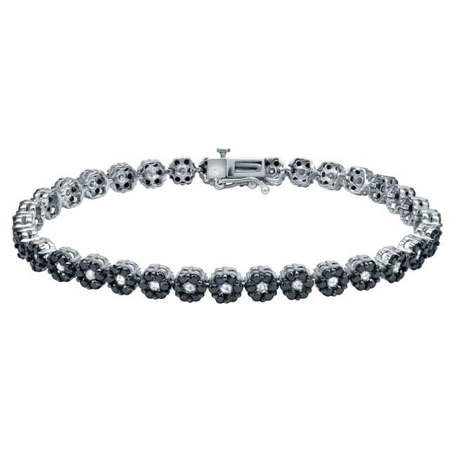 Auriya 14k Gold 4 1/2ct TDW Black and White Diamond Bracelet