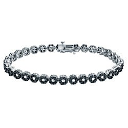 Auriya 14k Gold 4 1/2ct TDW Black and White Diamond Bracelet