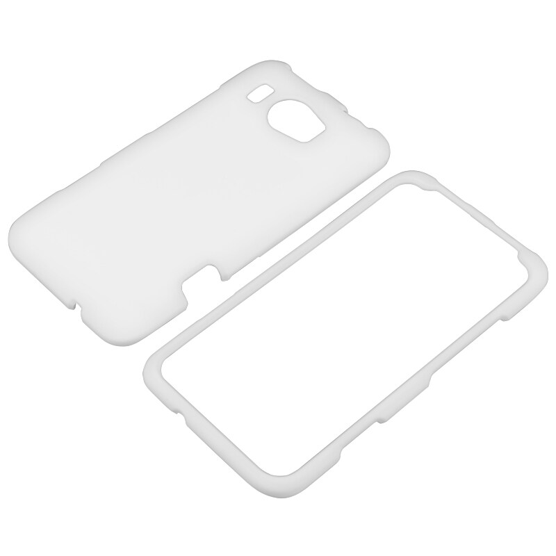 White Snap-on Rubber Coated Case for HTC Titan II