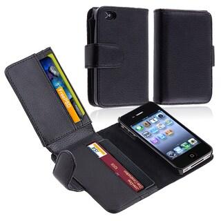 INSTEN Black Folio Flip Leather Wallet Flap Pouch Phone Case for Apple iPhone 4/ 4S