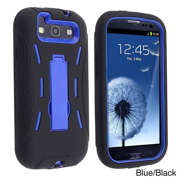 INSTEN Blue/ Black Hybrid Phone Case Cover with Stand for Samsung Galaxy S III