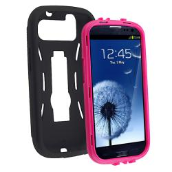 INSTEN Hot Pink/ Black Hybrid Phone Case Cover with Stand for Samsung Galaxy S III