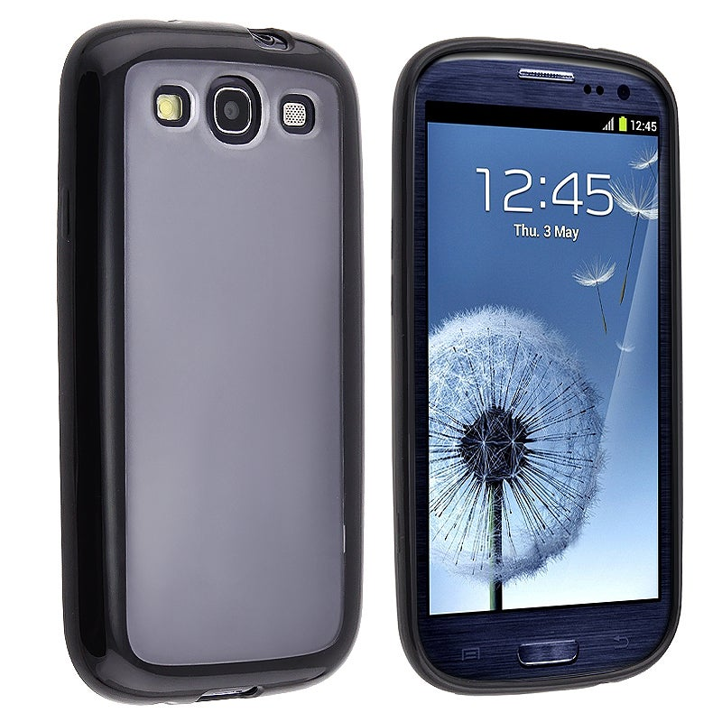 Clear with Black Trim TPU Rubber Skin Case for Samsung Galaxy S III