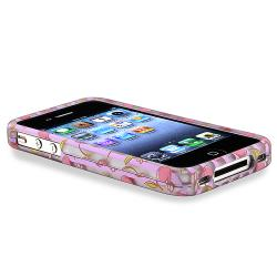 Pink Cherries/ Purple Stripe Rubber Coated Case for Apple iPhone 4/ 4S - Thumbnail 2
