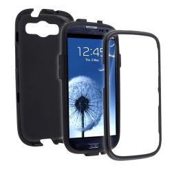 INSTEN Black/ Black Hybrid Phone Case Cover for Samsung Galaxy S III - Thumbnail 1