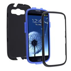 Blue/ Black Hybrid Case for Samsung Galaxy S III - Thumbnail 1