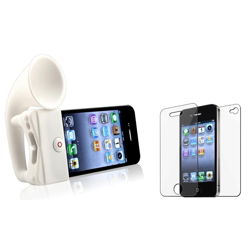 INSTEN White Horn Stand Speaker/ Screen Protector for Apple iPhone 4/ 4S