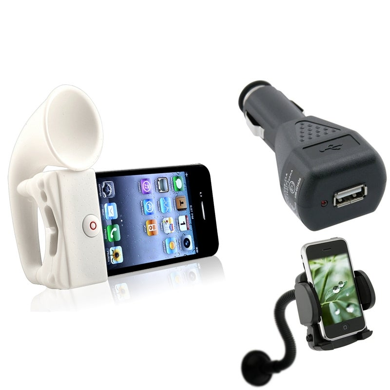 INSTEN White Horn Stand Speaker/ Charger/ Mount Bundle for Apple iPhone 4/ 4S