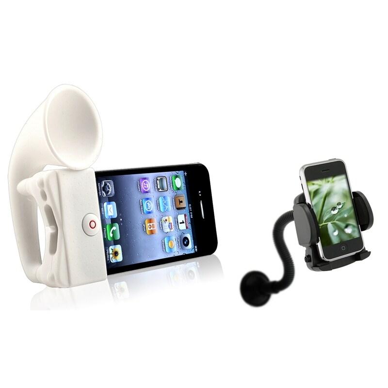 INSTEN White Horn Stand Speaker/ Windshield Mount for Apple iPhone 4/ 4S