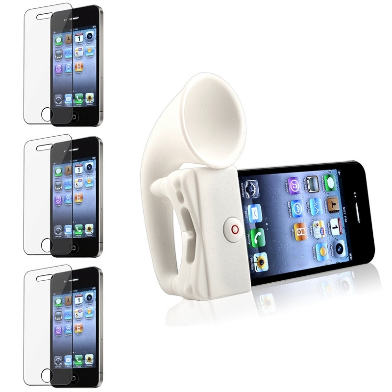 INSTEN White Horn Stand with Wireless Speaker/ Screen Protector for Apple iPhone 4/ 4S