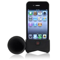 Black Horn Stand Speaker/ White Car Charger for Apple® iPhone 4/ 4S