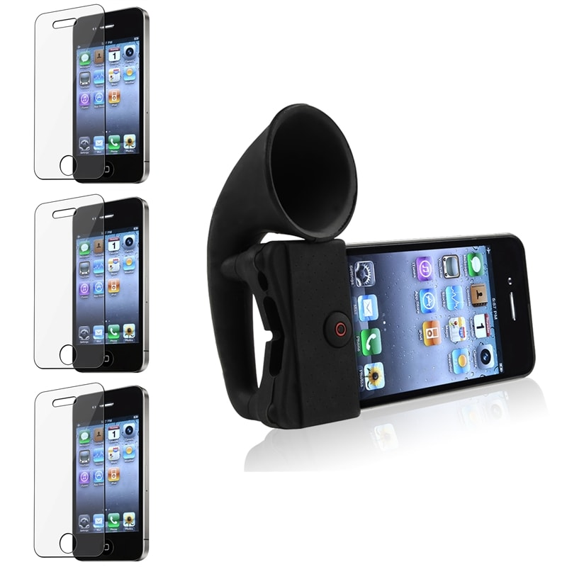 Four-Piece Black Silicone Horn Stand Speaker and Screen Protectors for Apple iPhone 4/ 4S