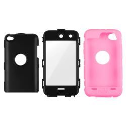 INSTEN Black/ Pink iPod Case Cover/ Screen Protector for Apple iPod Touch Generation 4