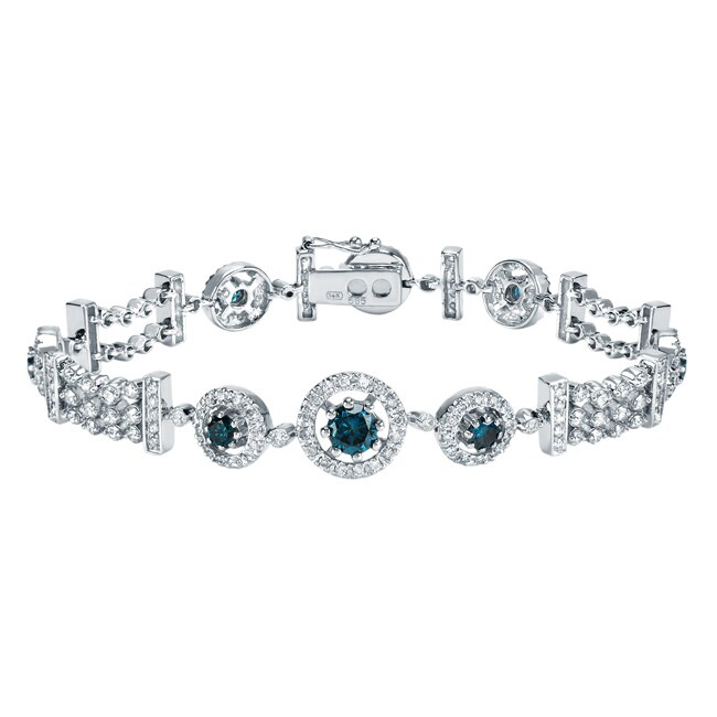 Auriya 14k White Gold 4ct TDW Blue Diamond Bracelet