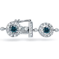 Auriya 14k White Gold 4ct TDW Blue Diamond Bracelet - Thumbnail 1
