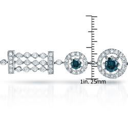 Auriya 14k White Gold 4ct TDW Blue Diamond Bracelet - Thumbnail 2