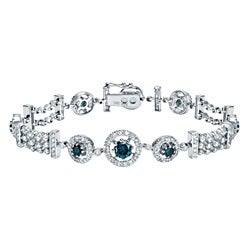Auriya 14k White Gold 4ct TDW Blue Diamond Bracelet (H-I, SI1-SI2)