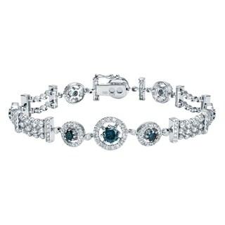Auriya 14k White Gold 4ct TDW Blue Diamond Bracelet
