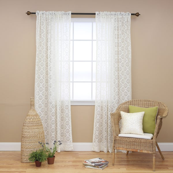 Aurora Home Ivory Lace 84 Inch Curtain Panel Pair