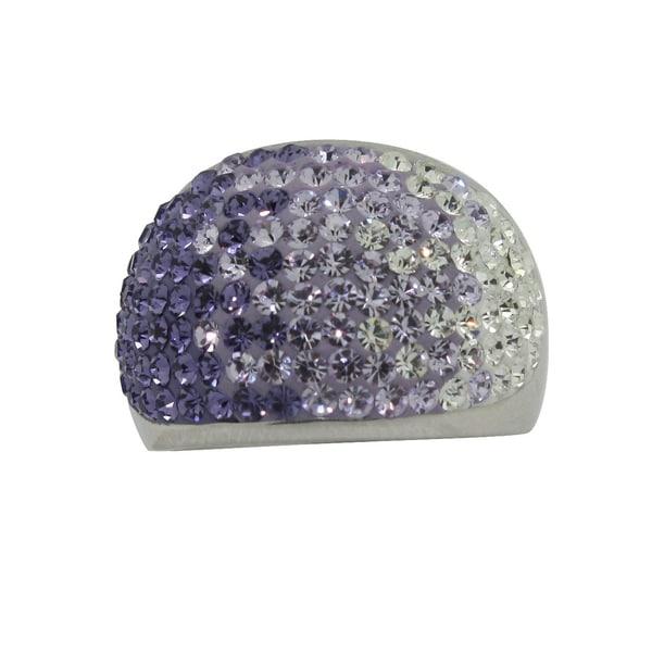 Gioelli Silver Rhodium Plated Lavender Crystal Ring