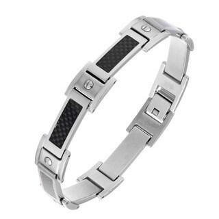 Stainless Steel Men's Carbon Fiber Inlay Link Bracelet