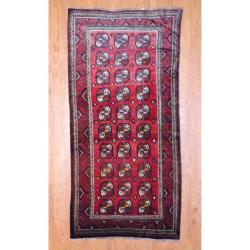 Herat Oriental 1950s Antique Persian Hand-knotted Tribal Balouchi Burgundy/ Ivory Wool Runner (4'10 x 10')