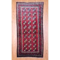 Herat Oriental Persian Hand-knotted 1950s Antique Tribal Balouchi Wool Runner (4'10 x 10')|https://ak1.ostkcdn.com/images/products/6990359/80/376/1950s-Antique-Persian-Hand-knotted-Tribal-Balouchi-Burgundy-Ivory-Wool-Runner-410-x-10-P14500394.jpg?impolicy=medium