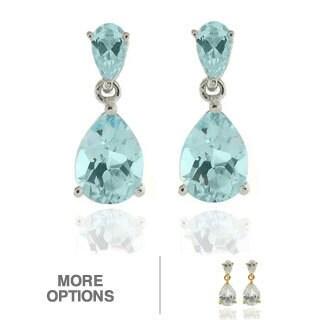 Dolce Giavonna Sterling Silver Gemstone Teardrop Dangle Earrings