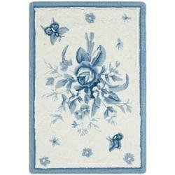 Safavieh Hand-hooked Garden Ivory/ Blue Wool Rug (1'8 x 2'6)