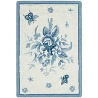 Safavieh Hand-hooked Garden Ivory/ Blue Wool Rug - 1'8 x 2'6