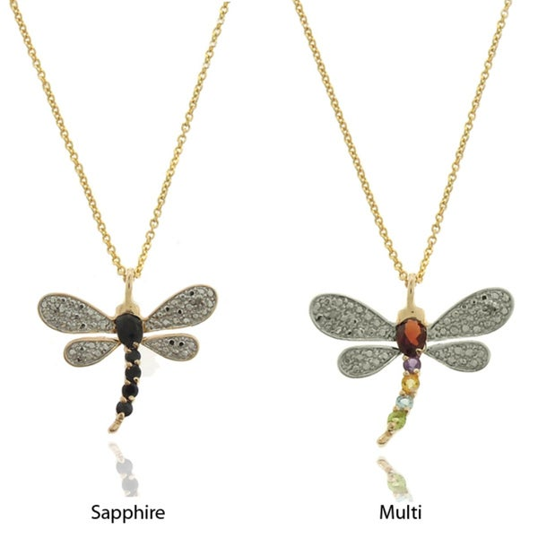 Dolce Giavonna Sterling Silver Diamond Accent Sapphire Dragonfly Pendant Necklace