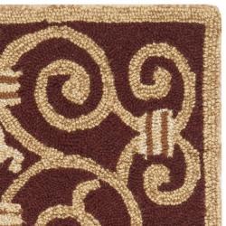 Safavieh Hand-hooked Chelsea Irongate Burgundy Wool Rug (1'8 x 2'6) - Thumbnail 1