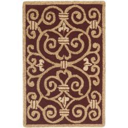 Safavieh Hand-hooked Chelsea Irongate Burgundy Wool Rug (1'8 x 2'6)