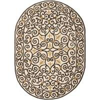 """Safavieh Hand-hooked Chelsea Irongate Ivory Wool Rug - 7'6"""" x 9'6"""" oval"""
