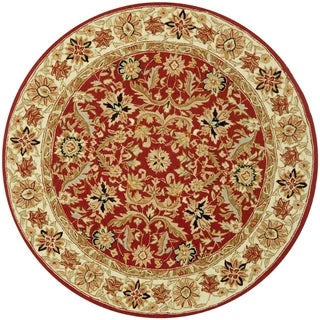 Safavieh Hand-hooked Chelsea Janay Country Oriental Wool Rug (56 x 56 Round - Red/Ivory)