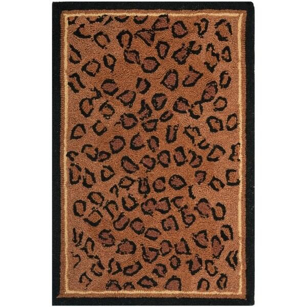 """Safavieh Hand-hooked Chelsea Leopard Brown Wool Rug - 1'8"""" x 2'6"""""""