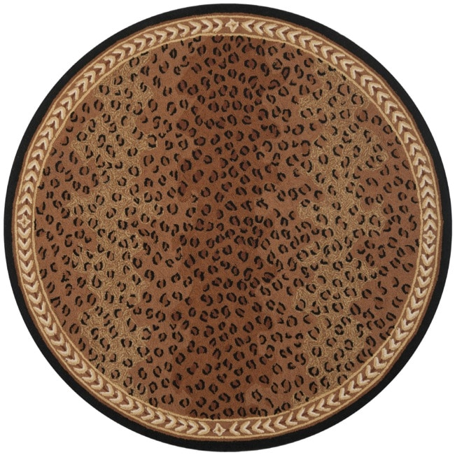 Safavieh Hand-hooked Chelsea Leopard Brown Wool Rug (4' Round) - Thumbnail 0